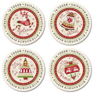 Nordic Noel Round Return Address Labels (4 Designs)