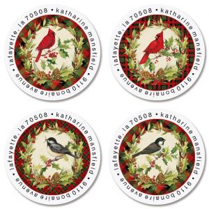 Christmas Birds Round Return Address Labels (4 Designs)