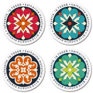 Spanish Flair Round Return Address Labels (4 Designs)