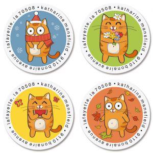 Cartoon Cat Round Return Address Labels (4 Designs)