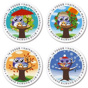 Owl Round Return Address Labels (4 Designs)