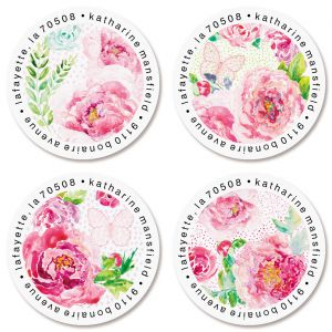 Peonies Round Return Address Labels (4 Designs)