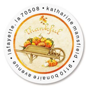 Wheelbarrow Pumpkins Round Return Address Labels