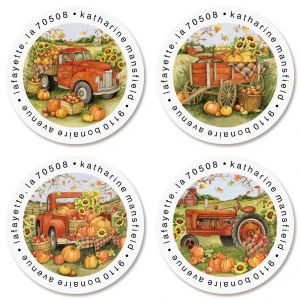 Harvest Orange Truck Round Return Address Labels (4 Designs)