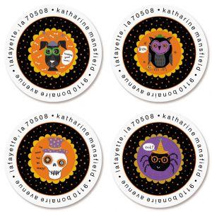 Halloweenies Round Address Labels