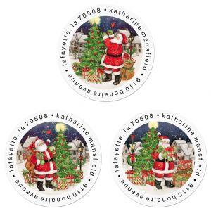 Vintage Santa Round Return Address Labels