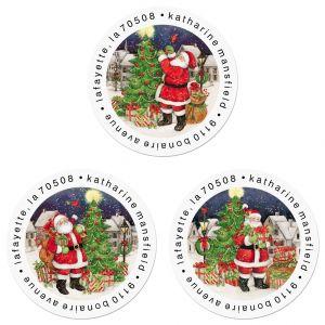Vintage Santa Round Return Address Labels