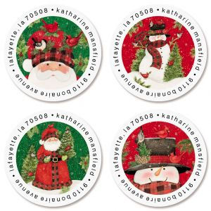 Tall Hat Holiday Round Address Labels (4 Designs)