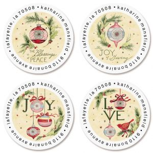 Vintage Ornaments Round Return Address Labels (4 Designs)