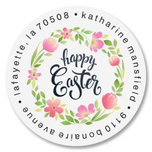 Easter Fun Round Return Address Labels