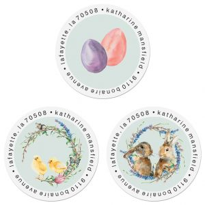 Hoppy Easter Round Return Address Labels