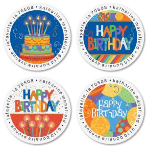 Awesome Birthday Round Return Address Labels (4 Designs)