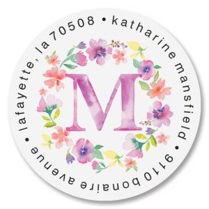 Floral Initials Round Return Address Labels