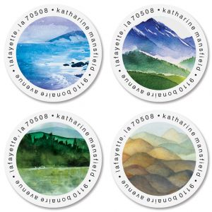 Landscape Round Return Address Labels (4 Designs)