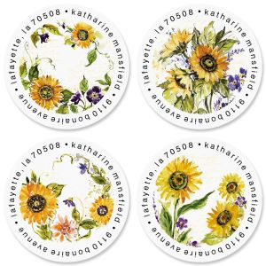 Watercolor Sunflower Round Return Address Labels