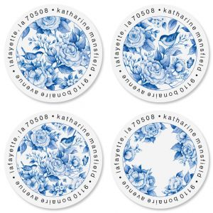 Blue Chinolserie Round Return Address Labels