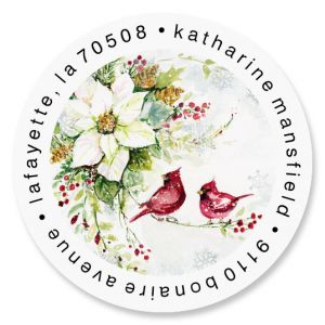 Watercolor Poinsettia Round Return Address Labels