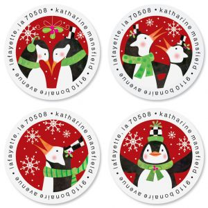 Top Hat Penguin Round Return Address Labels (4 Designs)