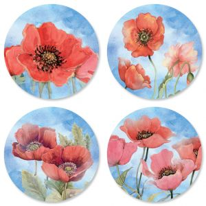 Spring Poppies Envelope Seals (4 Designs)