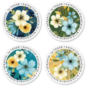 Blue Sunrise Round Return Address Labels (4 Designs)