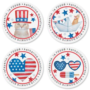 Patriotic Picnic Round Return Address Labels (4 Designs)