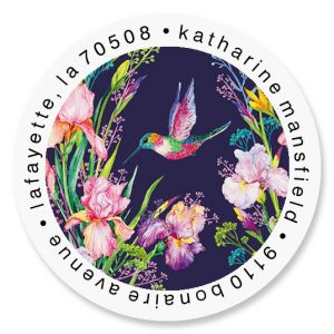 Iris Hummingbird Round Return Address Labels