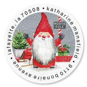 Holiday Gnomes Round Return Address Labels