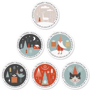 Textile Christmas Round Return Address Labels (6 Designs)