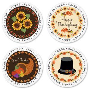 Give Thanks Round Return Address Labels (4 Designs)