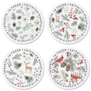 Winter Foliage Round Return Address Labels (4 Designs)