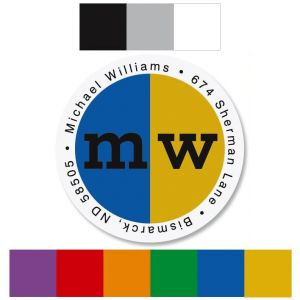 School Colors Round Address Labels