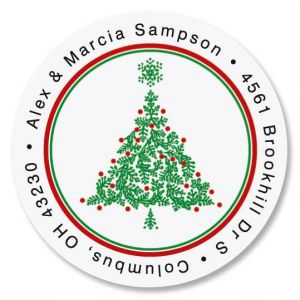 Christmas Tree  Round Address Labels