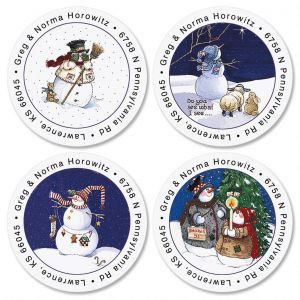 Sandi's Snowmen  Round Address Labels  (4 Designs)