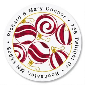 Peppermint  Round Return Address Labels