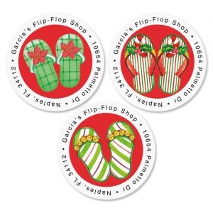 Christmas Flip-Flops Round Address Labels   (3 Designs)