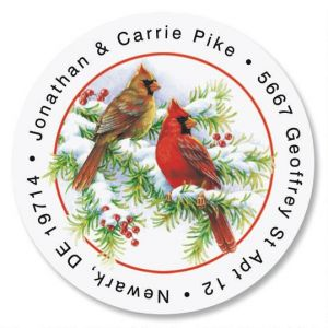 Cardinals Round Address Labels