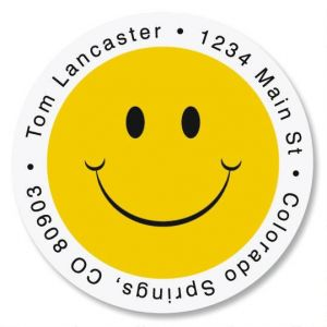 Smiley Face Round Address Labels