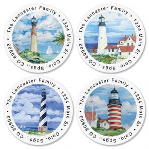 Summer Lighthouse Round Address Labels  (4 Designs)