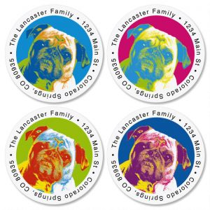 Pop Art Puppies Round Return Address Labels