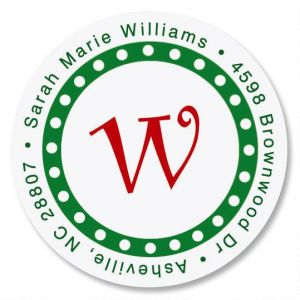Christmas Dots Initial Round Address Labels