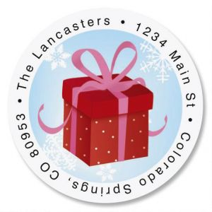 Christmas Silhouette Round Address Labels