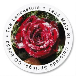 Christmas Rose Round Address Labels