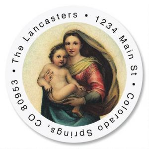 Madonna & Child Round Return Address Labels