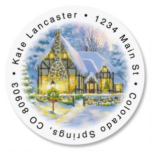 Snowy Cottage  Round Address Labels