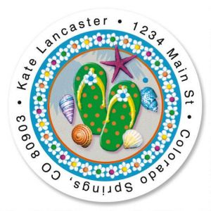 Summer Fun Round Address Labels
