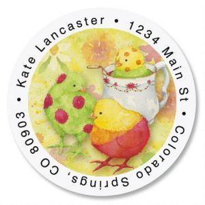Dipped Ducks Round Address Labels