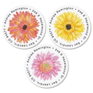 Gerbera Daisy Round Address Labels  (3 Designs)
