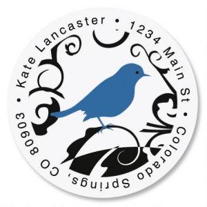 Distinctive Bird Round Address Labels