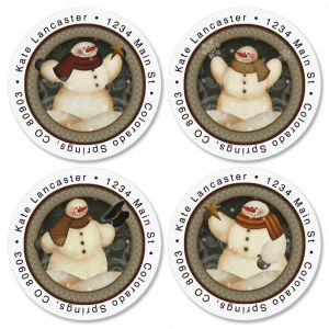 Snowmen Round Address Labels  (4 Designs)