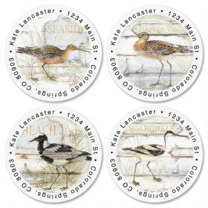 Seabirds Round Address Labels  (4 Designs)